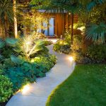 Contemporary Outdoor Lighting Grass Plants Door Lamps Wood Chair Glass Wooden Wall Pathway Lights
