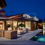 Contemporary Outdoor Lighting Sofa Poolside Furniture Roof Bed Pillows Curtain Wall Lamp Pool Fireplace