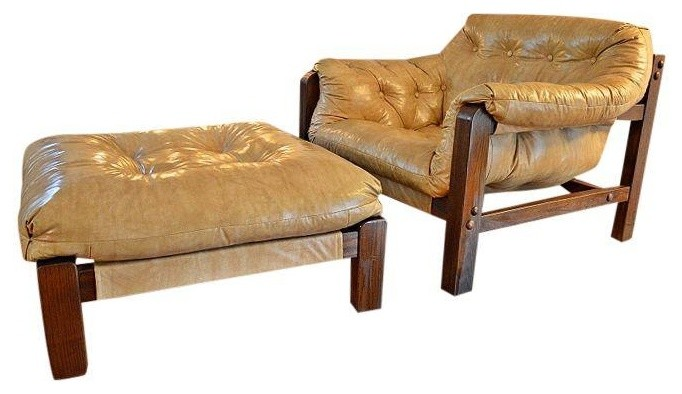 Cream Leather Club Chair Ottoman Brown Wood Feet