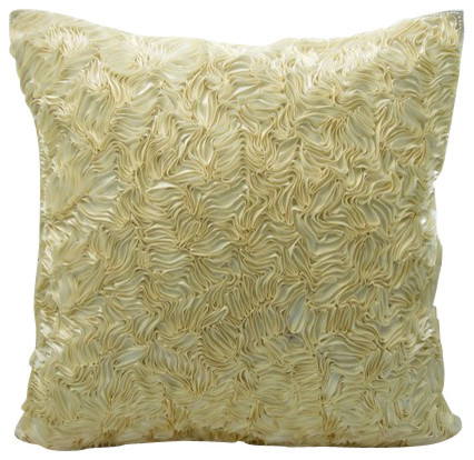 cream textured throw pillow with satin ribbon