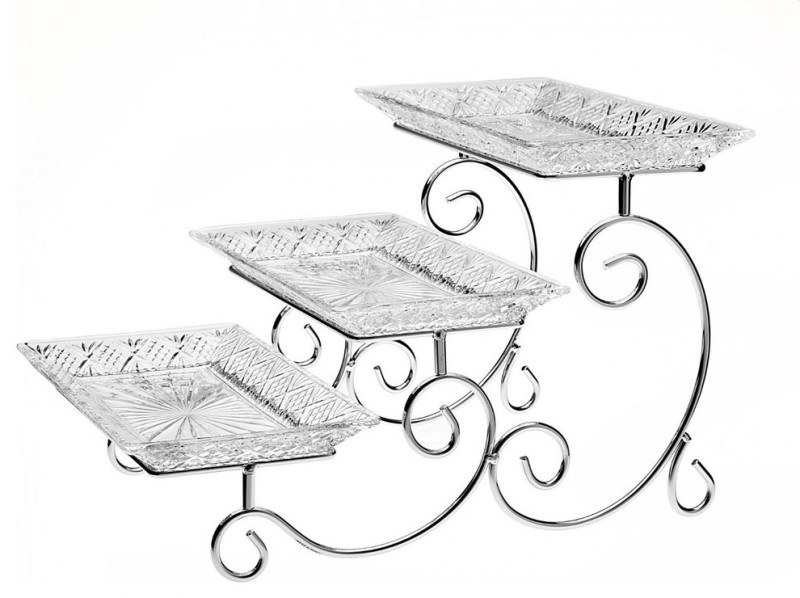 crystal square platters in three tier serving stand