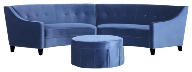 dark blue small curved sofa with ottoman