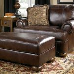 Dark Brown Leather Faux One And A Half Chair With Ottoman