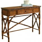 Dark Brown Rattan Console Table