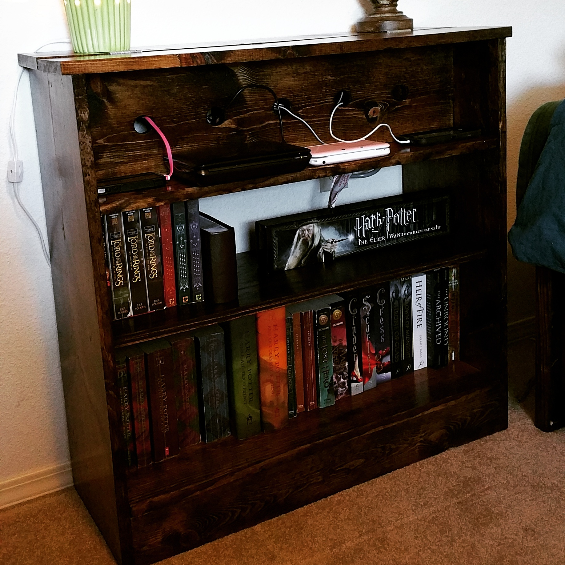 dark brown wooden nightstand with bookshelf