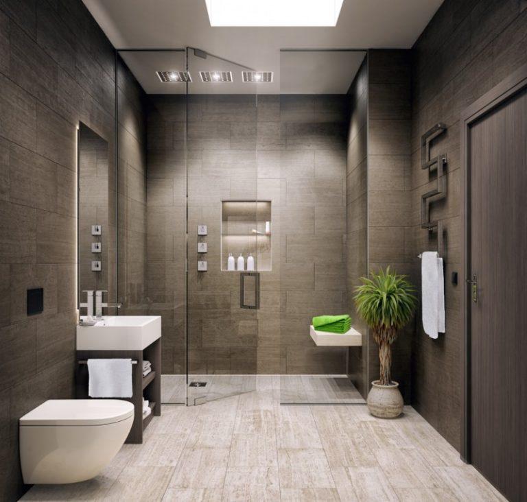 Dark Marble Wall Light Marble Floor Ceiling Shower Contemporary Designed  Towel Rack Glass Slide