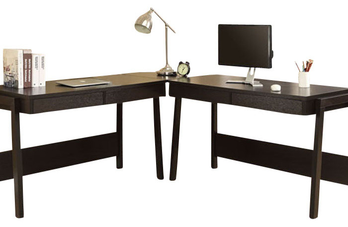dark wooden office desk thin panel computer desk contemporary L shaped working desk
