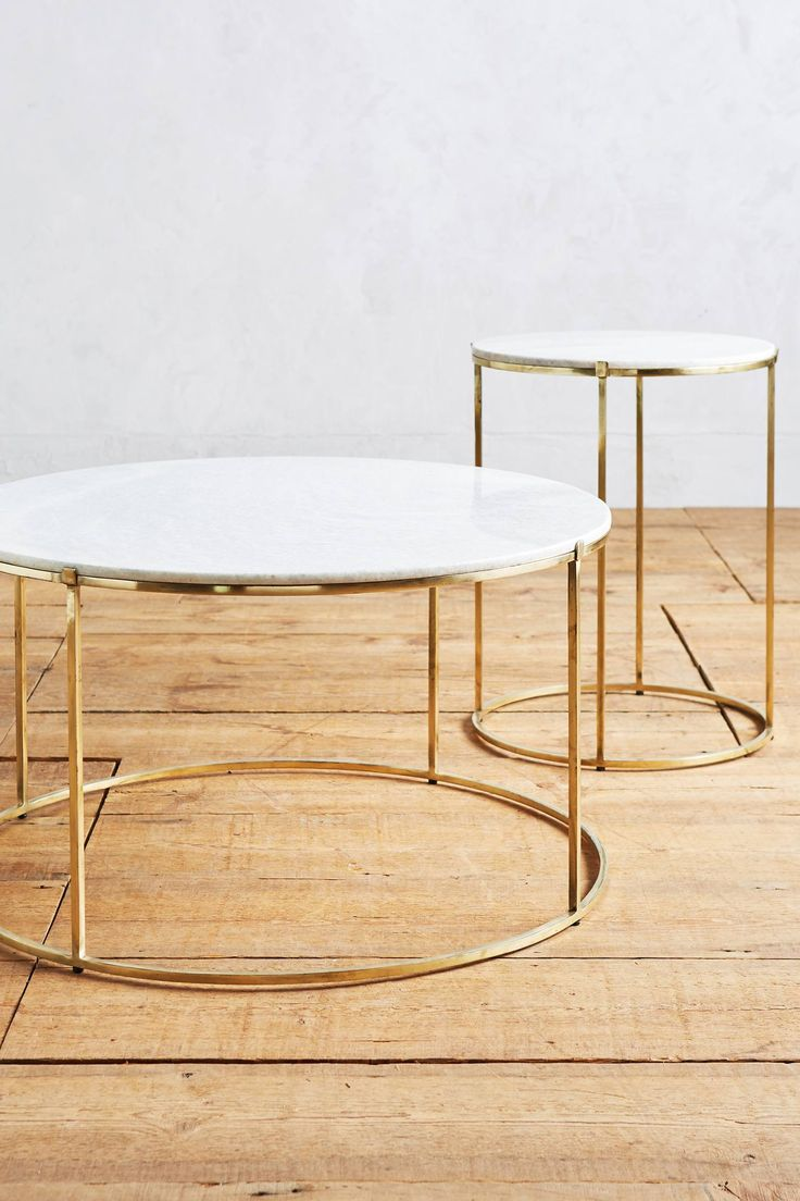 Double Round Coffee Table With Gold Feet
