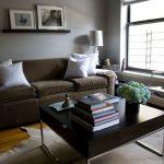 Dusty Brown Sofa White Decorative Pillows Modern Hardwood Coffee Table Leather Carpet Transparent Chair Hardwood Flooring Idea