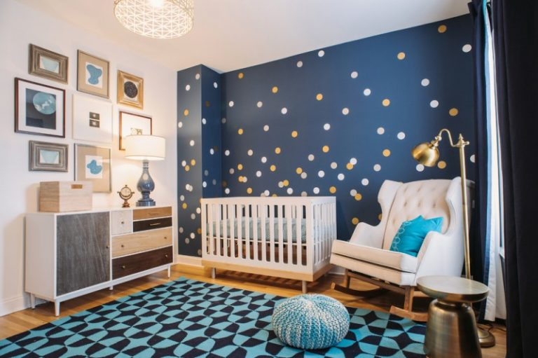 Galaxy Baby Boy Theme With Blue Night Sky Wallpaper At One Side White Cribs