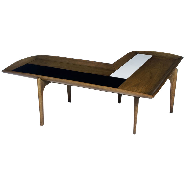 Geogeous White And Black Lined Wooden L Shaped Coffee Table