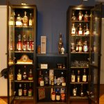 Glass Door Black Wooden Liquor Cabinet