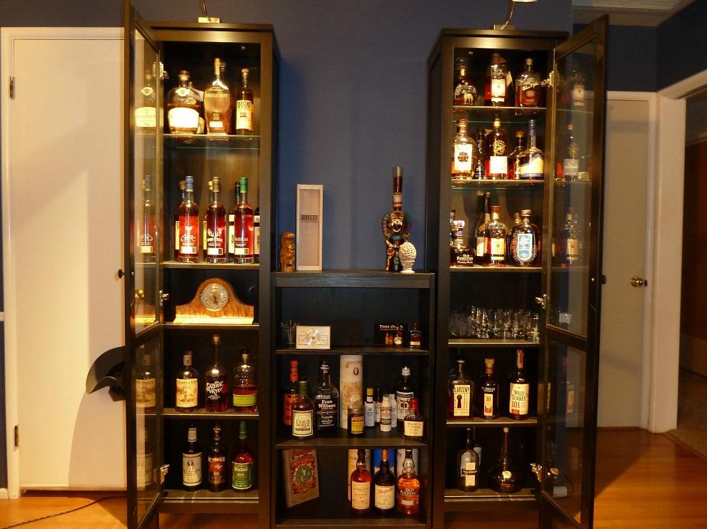 Glass Door Black Wooden Liquor Cabinet
