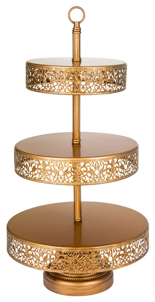 golden metal reversible three tier serving stand
