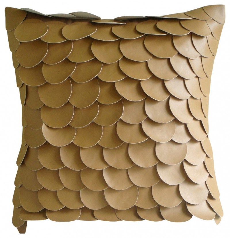 golden scale textured throw pillow