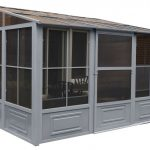 Gray Aluminum Gazebo Kit With Two Movable, Sliding Doors And Fiberglass Screened Windows With Wind Panels