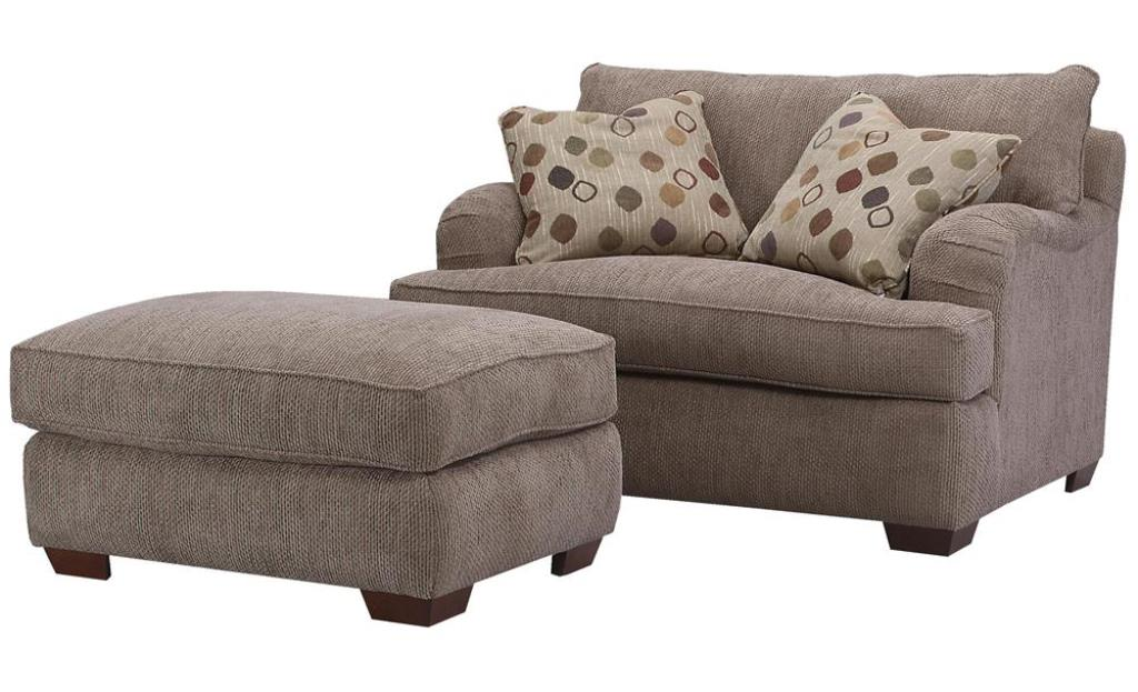 Grey One And A Half Chair With Pillows And Ottoman