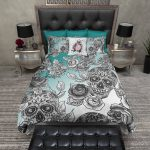 grey skull and gey flower on tourquise white bedding