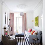 Grey Sofa Colorful Ornament Pillows Stripes Monochromatic Carpet Black Table White Oriental Pendant Lamp
