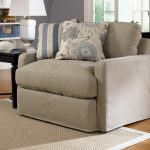 greyish cream one and a half chair with pillows