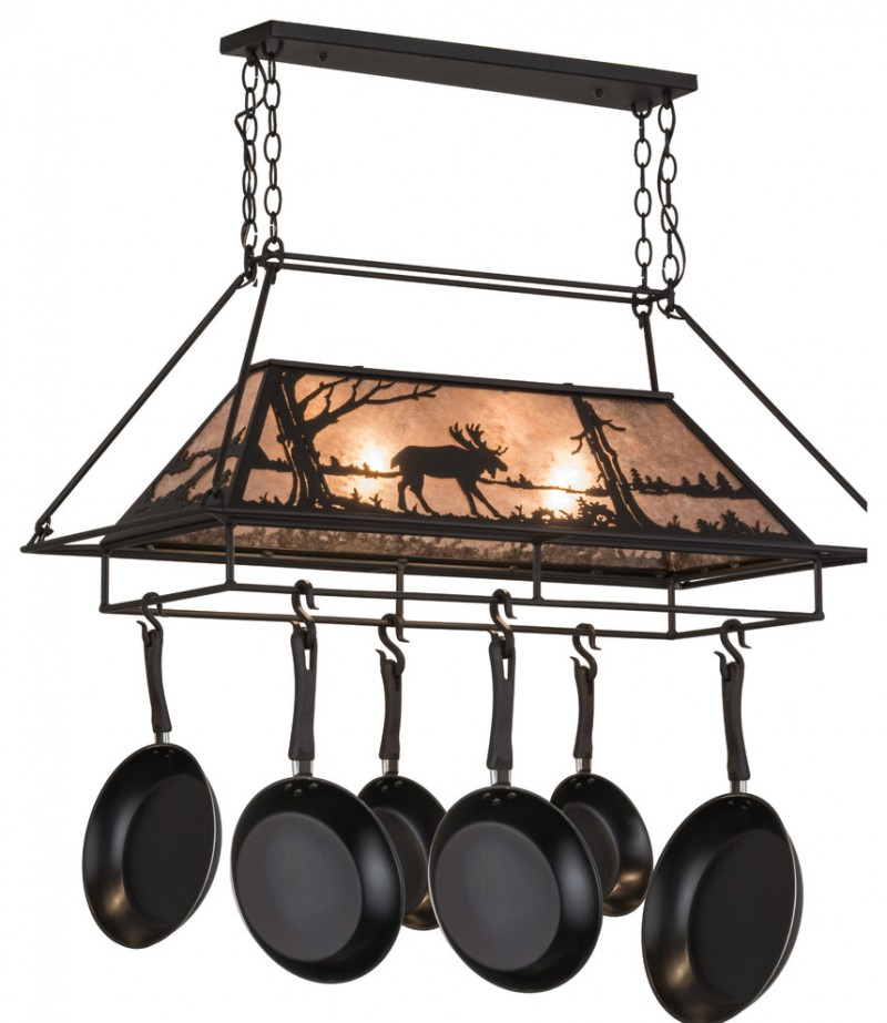 handrafted rustic stag motive pot racks with lamp