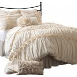 ivory bedding set with flower cotton accent on comforter and pillows