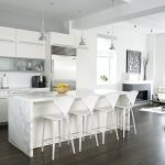 Kitchen White Wall White Ceiling White Furniture Dining Chair Modern Lights Countertop Metal Faucet