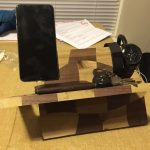 light brown wooden nightstand charging station