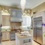Light Gray Kitchen Cabinets Chandelier Flowers Wall Cabinet Kitchen Lighting Stove Drawer Marine Life Theme Ceiling Lamp