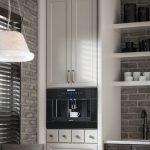Light Gray Kitchen Cabinets Hanging Lamp Dining Chairs Dining Table Wall Shelves Drawers Brick Wall Faucet Sink Ceiling
