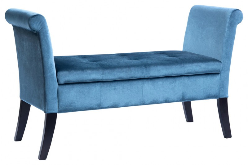 light prussian blue velvet uphoslter bench
