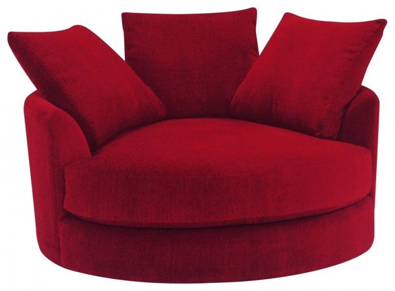 maroon round and a half chair with three pillows