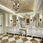 master bathroom layouts chandelier checkered pattern floor white cabinets drawer bathroom lighting towel rack faucet sink mirrors