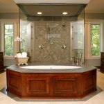 Master Bathroom Layouts Wooden Cabinets Big Mirror Windows Glass Door Bathroom Lighting Drawer Sink