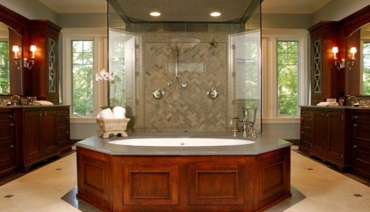 master bathroom layouts wooden cabinets big mirror windows glass door bathroom lighting drawer sink