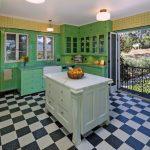 Mediterranean Kitchen Design Checkered Floor Green Cabinets Stove Ceiling Lamp Folding Door