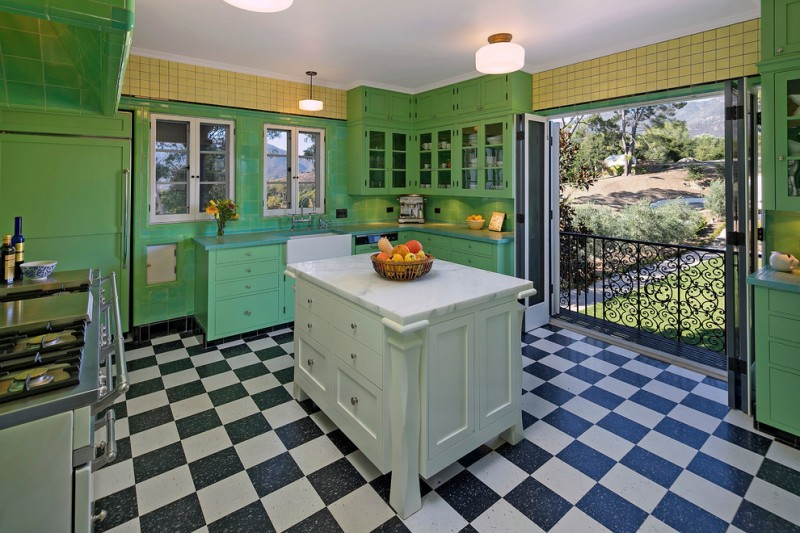 mediterranean kitchen design checkered floor green cabinets stove ceiling lamp folding door