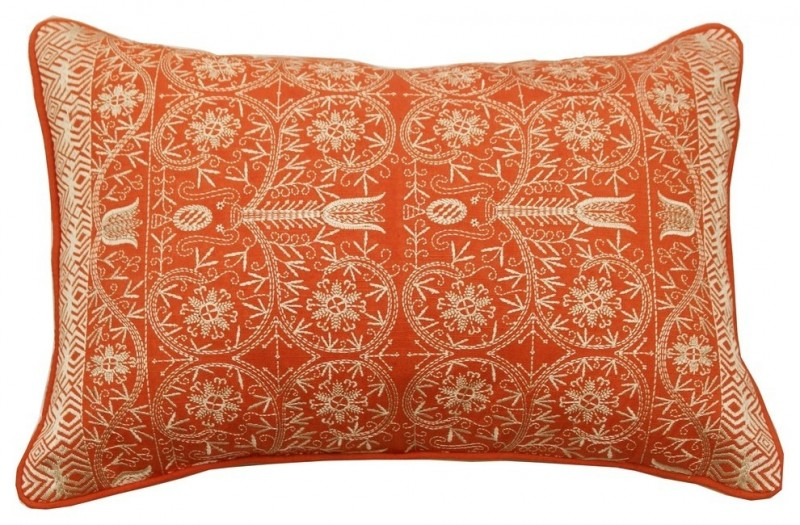 mediterranean orange heavily embroidered textured throw pillow