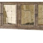 Mirrorred Transitional TV Console Made Of Brown Wood