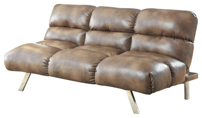 mocha leather sofa bed with stainless steel legs