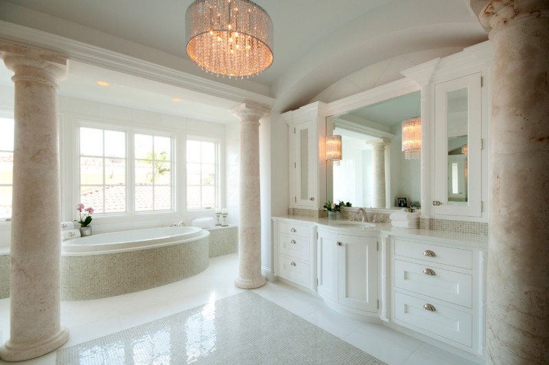 modern bathroom lighting elegant bathroom design cabinets faucet countertop pillars bathtub chandelier
