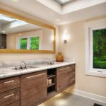 modern bathroom lighting wall mount cabinet window mirror wood faucet countertop ceiling lamps