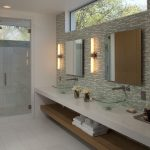 modern bathroom lights wooden shelves faucets glass basins modern long lights ceiling lamps glass door