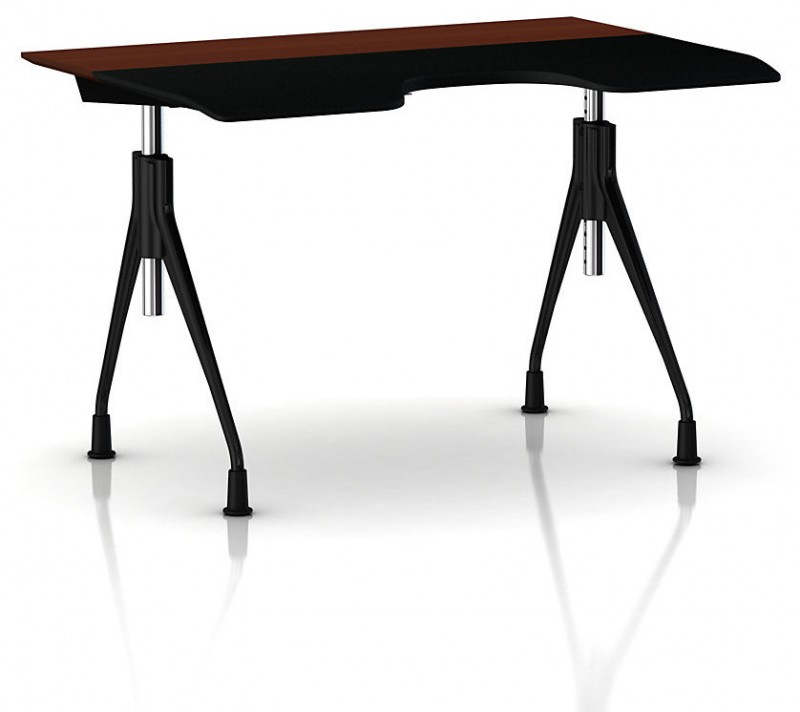 modern desk height curved office desk contemporary brown black tabletop