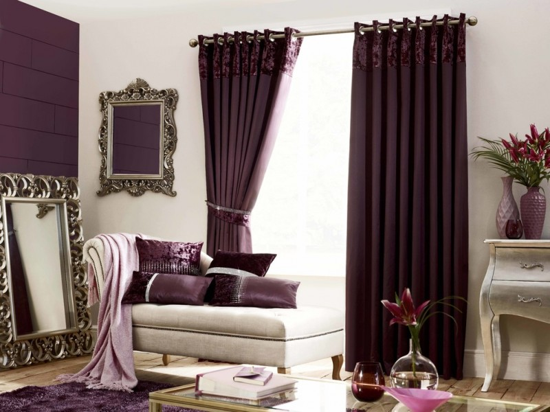 modern purple curtains purple bricks wall classic mirrors broken white sofa purple cushion vase flowers purple rug cream floor glass table classic drawer