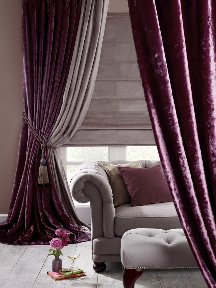 Purple Velvet Curtains Combined With Grey Furniture And Floor
