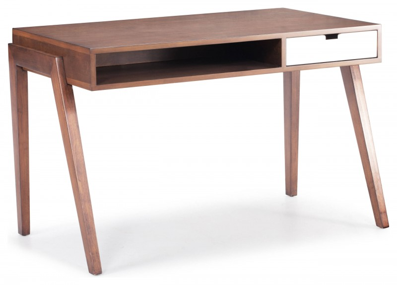 modern slim table legs light walnut wooden office table open drawer white closed drawer large tabletop