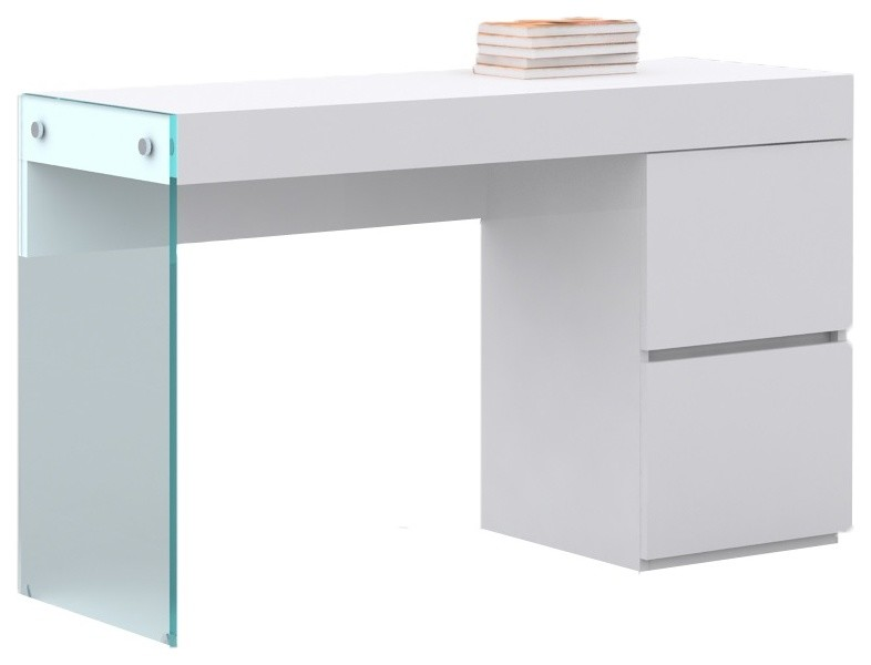modern white office desk 2 drawer desk glass slide