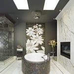 Mosaic Marble Tiled Tub Elegant Dark Wall Flower Accented Wall Resplendent Patterned Slate Wall Unique Fireplace Sparkling Marble Sink Luxurious Hanging Lamps Simple Fair Tiled Floor