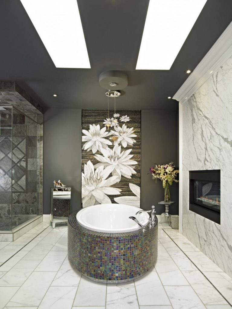 Experiencing elegant peace in black marble bathroom decohoms for Elegant stone